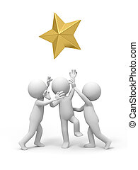 gold star - Three people are competing for  a gold star