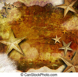 Gold Star Holiday Grunge Background