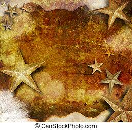 Gold Star Holiday Grunge Background