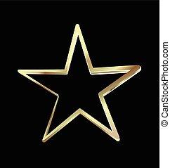 Gold star holiday symbol logo vector