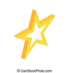 Gold star icon, isometric 3d style