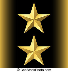 Gold star icon set. Pentagonal sign with gradient. Elegant...