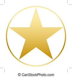 Gold star in a golden circle. Simple form. Flat vector image.