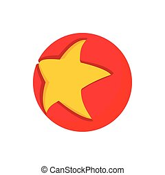Gold star in a red circle icon, cartoon style