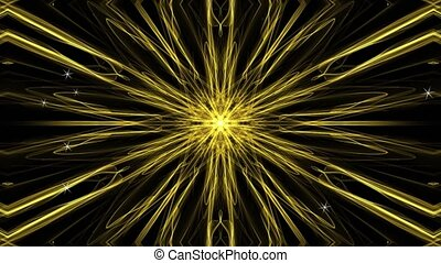 Gold star in fractal style, randomly generating small stars or sparks. Abstract animated background. 4k quality