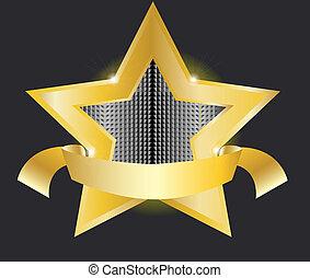 gold star label vector illustration