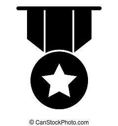 Gold star medal solid icon. Award with the star illustration isolated on white. Badge glyph style design, designed for web and app. Eps 10.