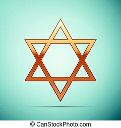 Gold Star of David icon on blue background. Vector Illustration