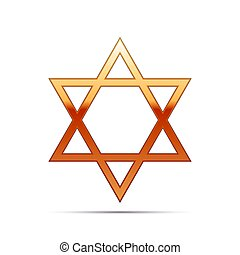 Gold Star of David icon on white background. Vector Illustration
