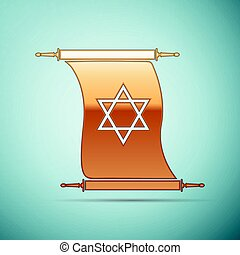 Gold Star of David on scroll icon for blue background. Vector Illustration
