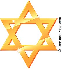 Gold Star of David vector icon