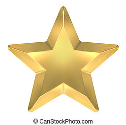 Gold Star on white background