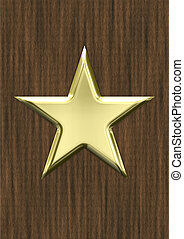 Gold star on wood