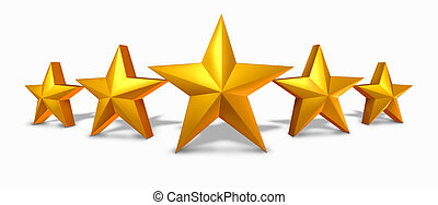 Gold star rating with five golden stars representing an ...