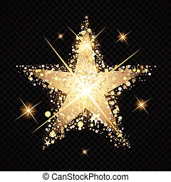 Gold Star stardust isolated on black background - Golden ...