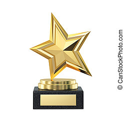 Gold star trophy award isolated on white, clipping path included