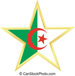 Gold star with a flag of Algeria