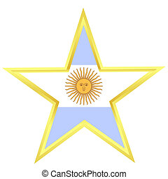 Gold star with a flag of Argentina
