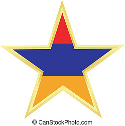 Gold star with a flag of Armenia