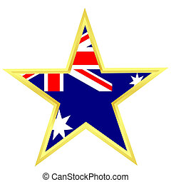 Gold star with a flag of Australia