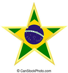 Gold star with a flag of Brazil