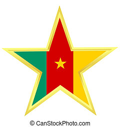 Gold star with a flag of Cameroon