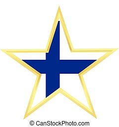 Gold star with a flag of Finland