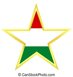 Gold star with a flag of Hungary