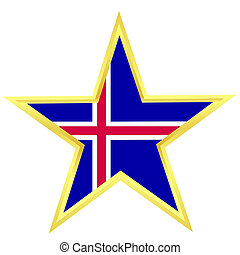 Gold star with a flag of Iceland