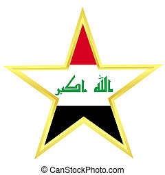 Gold star with a flag of Iraq