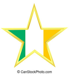 Gold star with a flag of Ireland