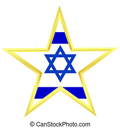 Gold star with a flag of Israel