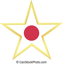 Gold star with a flag of Japan