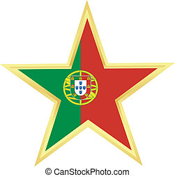 Gold star with a flag of Portugal