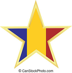 Gold star with a flag of Romania