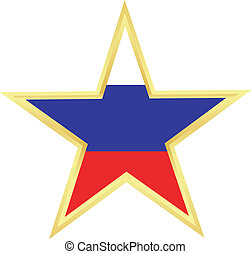 Gold star with a flag of Russia