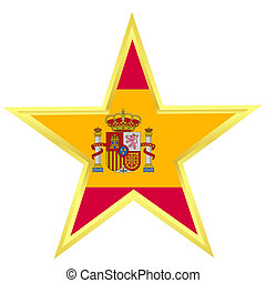 Gold star with a flag of Spain