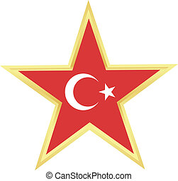 Gold star with a flag of Turkey