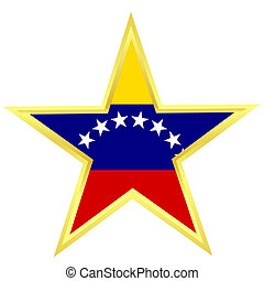 Gold star with a flag of Venezuela