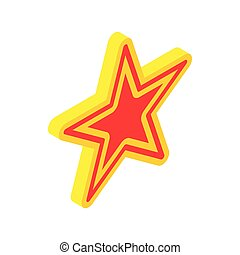 Gold star with red insert icon, isometric 3d style