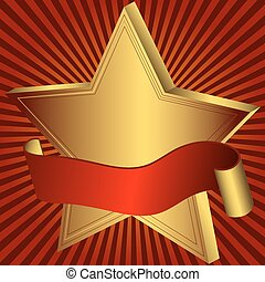 Gold star with red ribbon