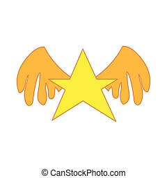 Gold star with wings icon, cartoon style