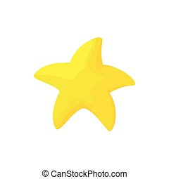 Gold starfish icon, cartoon style