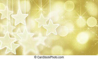 gold stars and bokeh lights loop