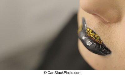 Gold Stars Black Lipstick - Gold stars black lipstick female...