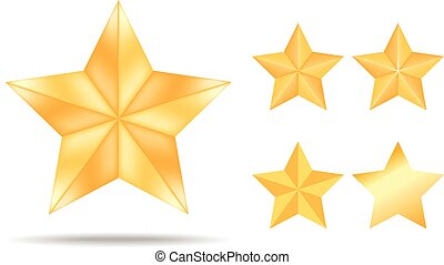 Gold stars collection isolated on white background. Vector Illustration.