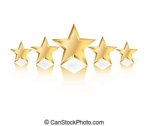Gold Stars - Five gold stars in different sizes with...