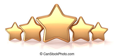 Gold stars five golden star service award business success decoration abstract. Best top quality rating excellent favorite favorite winner concept. Detailed 3d render. Isolated on white background