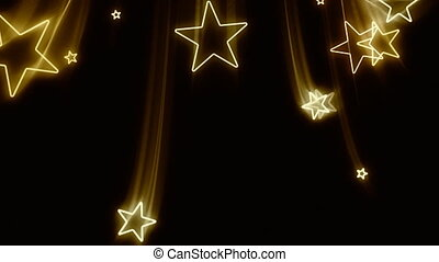 Glowing golden stars fly down in and out of the screen in luxurious old school motion graphics style.