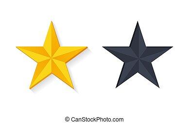 Gold Stars in 3D Design Vector Golden Silver Color